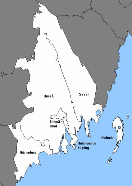 Indelning 1952 av Umeå kommun 1974